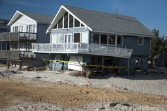 Hurricane Sandy Aftermath. Hurricane damage to houses at the Jersey Shore Stock Photos