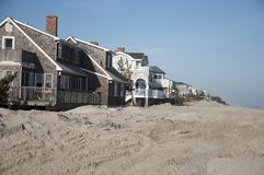 Hurricane Sandy Aftermath. Dunes washed away at the Jersey Shore after Hurricane Sandy landed Royalty Free Stock Photo