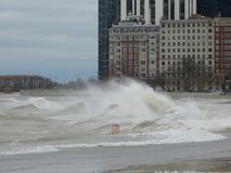 Hurricane Sandy causes the Lake Michigan to rise outside its shore. Stock Photography