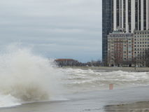 Hurricane Sandy causes the Lake Michigan to rise outside its shore. The Hurricane Sandy in 2012 causes unrest in the Lake Michigan in Chicago royalty free stock images