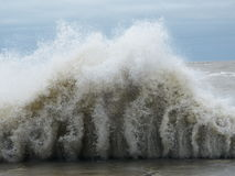 Hurricane Sandy causes the Lake Michigan to rise outside its shore. The Hurricane Sandy in 2012 causes unrest in the Lake Michigan in Chicago royalty free stock photos