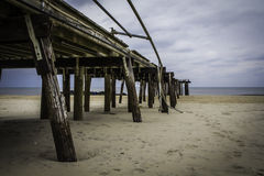 After Hurricane Sandy: Ocean Grove, New Jersey Fishing Pier stock image