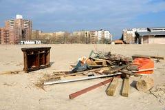 Hurricane Sandy's Aftermath. Debris on Brighton Beach, Brooklyn after Hurricane Sandy hit New York area on October 29, 2012 Stock Photography