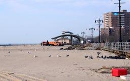 Hurricane Sandy's Aftermath. Debris on Brighton Beach, Brooklyn after Hurricane Sandy hit New York area on October 29, 2012 Royalty Free Stock Photos