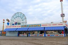 Hurricane Sandy's Aftermath. Small businesses reopen on Brighton Beach, Coney Island after Hurricane Sandy hit New York area on October 29, 2012 Royalty Free Stock Photography