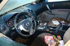 Hurricane Sandy's Aftermath. Inside of a Nissan car that was totally flooded in Conney Island, Brooklyn during Hurricane Sandy, on October 29, 2012 Royalty Free Stock Photography