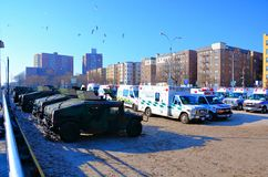 Hurricane Sandy's Aftermath. Emergency and military cars ready to respond in the aftermath of Hurricane Sandy, parked by Riegelmann Broadwalk in Conney Island Royalty Free Stock Photos
