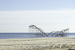 After Hurricane Sandy:  Seaside Heights, New Jersey Roller Coaster Royalty Free Stock Images