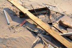 Hurricane Sandys Aftermath. Debris on Brighton Beach, Brooklyn after Hurricane Sandy hit New York area on October 29, 2012 Royalty Free Stock Image