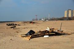 Hurricane Sandys Aftermath. Debris on Brighton Beach, Brooklyn after Hurricane Sandy hit New York area on October 29, 2012 Royalty Free Stock Photography