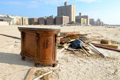 Hurricane Sandys Aftermath. Part of a bar from a nearby restaurant that was pulled and carried by water, is standing in the middle of Brighton Beach, Brooklyn Stock Photos