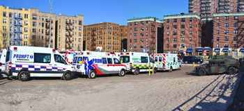 Hurricane Sandys Aftermath. Emergency and military cars ready to respond in the aftermath of Hurricane Sandy, parked by Riegelmann Broadwalk in Conney Island Royalty Free Stock Photo