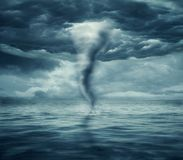 Hurricane at sea. View of a fantastic scene of a stormy day at the sea Royalty Free Stock Image