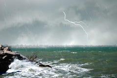 Hurricane on the sea. Wide hurricane hits the city Stock Photo