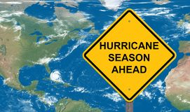 Hurricane Season Ahead Caution Sign royalty free stock images