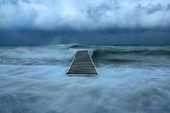 Hurricane on the shore of the ocean royalty free stock photography