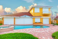 Free Hurricane Shutters On Southern Home Royalty Free Stock Photo - 154650545