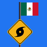 Hurricane sign with Mexican flag Stock Image