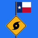 Hurricane sign with Texan flag Royalty Free Stock Photo
