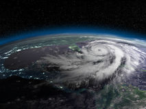 Hurricane from space at night Royalty Free Stock Photo