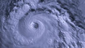 The hurricane storm with lightning over the ocean., satellite view. stock footage