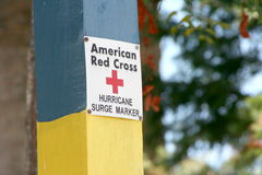 Hurricane Surge Marker. American Red Cross Hurrican Surge Marker Stock Photography