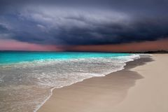 Hurricane tropical storm beginning Caribbean sea. Dramatic sky Tulum royalty free stock photography