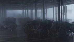 Hurricane Typhoon Mangkhut near bike parking