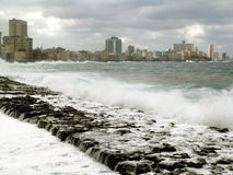 Hurricane View of the wallsea in havana. Stock Image