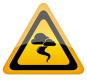 Hurricane warning sign. Illustration isolated on white Stock Image