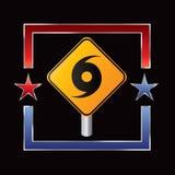 Hurricane warning sign inside star outline Royalty Free Stock Images