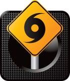 Hurricane warning sign on web icon Royalty Free Stock Image