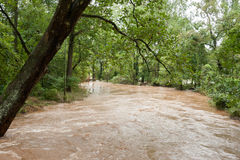 Hurricane Waters Flooding the Land. The flood water of a hurricane flooding the countryside Royalty Free Stock Photography