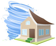 Hurricane winds blew roof off house. Property insurance. Hurricane winds blew the roof off the house. Property insurance. Illustration in vector format Royalty Free Stock Photo