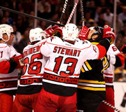Hurricanes -- Bruins skirmish (Hockey) Stock Images