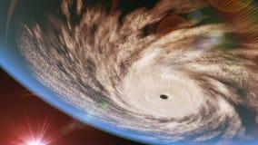 Hurrikan über dem Ozean, umgekehrte Ansicht, Animation 3D stock abbildung