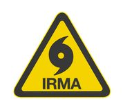 Hurrikan Irma Warning Sign Isolated Lizenzfreie Stockfotografie