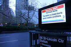 Hurrikan-Sandy-Untergrundbahn-Warnung Stockfotos