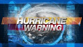 Hurrikan-Warnung - Titel-Grafiken lizenzfreie abbildung