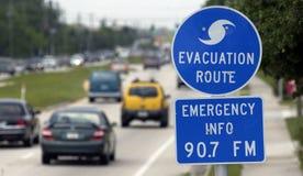 Hurrikanevakuierungzeichen Stockbild