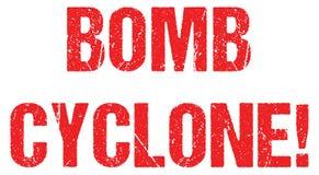 Hurrikanwetteralarm Typotitelnachrichtenlogofahnen-Designvektor des Bombenwirbelsturms warnender vektor abbildung
