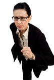 Hurry. Female with black briefcase running Royalty Free Stock Photography