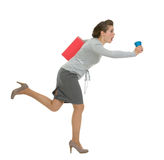 Hurry business woman with folder and cup running Stock Photo