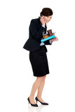 Hurry businesswoman talking on the phone. Royalty Free Stock Image