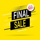 Hurry Final Sale banner, poster background. Big sale, special offer, discounts, up to 50 off. Vector illustration stock illustration