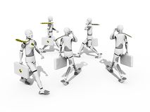 Hurry men. Crash test dummies walking and speaking over a white background Royalty Free Stock Images