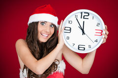 Hurry , new year, santa girl Royalty Free Stock Image