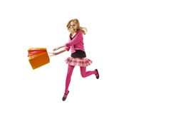Hurry it's a sale time. Girl with shopping bag running or jumping. Isolated over white Stock Images