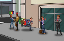 Hurry in the street. Some people in the street and a business man in a hurry vector illustration