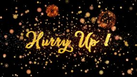 Hurry Up Abstract particles and glitter fireworks greeting card. Abstract particles and fireworks greeting card text with shiny black background for festivals stock video footage
